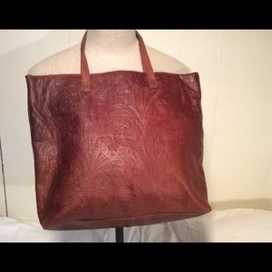 American Leather Company tooled Leather tote